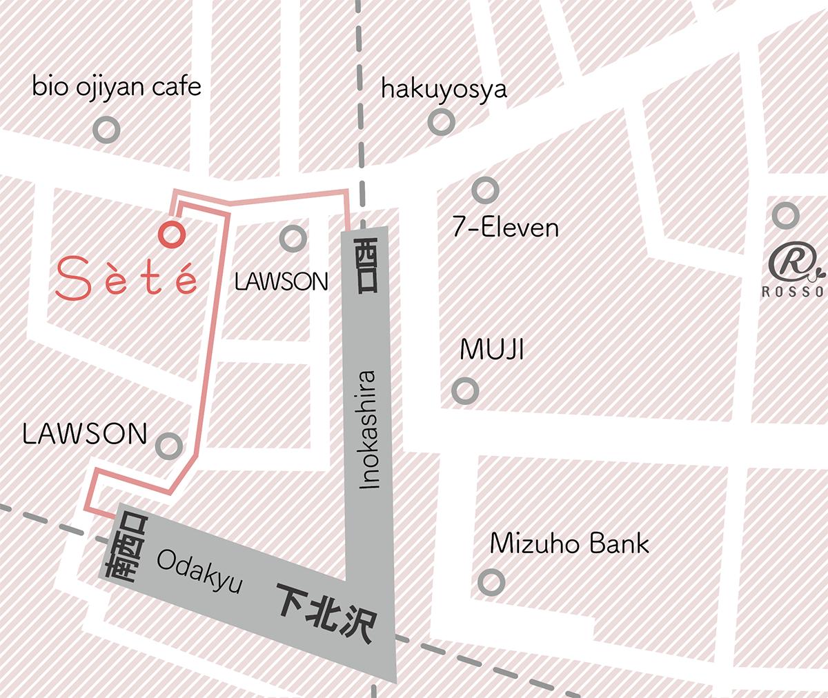 下北沢駅から美容室セットへのマップ